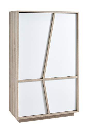 Demeyere 223490Natura Credenza Madia alto 2porte pannello particelle Rovere Spazzolato/Bianco Perla 91,2X 42,3x 149cm