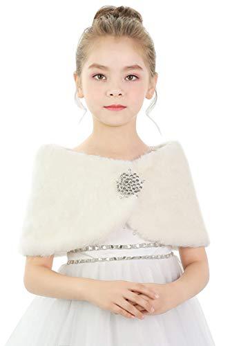 Babyonlinedress® Kinder Kunstpelz Wrap Cape Hochzeit Stola-Schal Bolero für Brautkleid Warm Winter Umhang 120cm-130cm