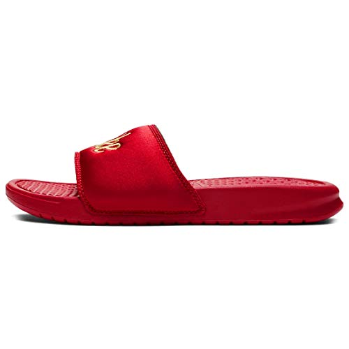 Zapatillas Nike Sportswear Benassi Just do it. Textile SE para mujer, color rojo, rojo, EU 36,5 - US 6