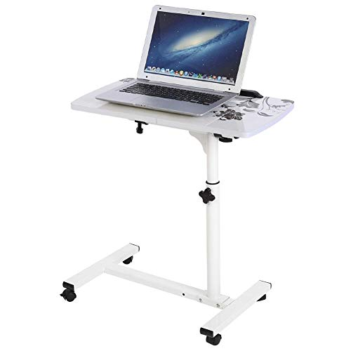 EBTOOLS - Mesa para Ordenador con Ruedas, Altura Ajustable, Mesa de Cama para Ordenador portátil, Soporte extraíble para Ordenador portátil para Cama o sofá