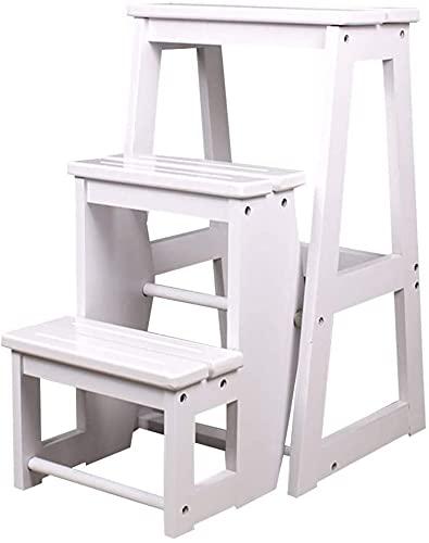 KMatratze Kruk kruk multifunctionele kruk, moderne opvouwbare bank, ladder 2 stappen of 3 getrapte stappen houten kruk (Color : A, Size : 45 * 56.5 * 64cm)