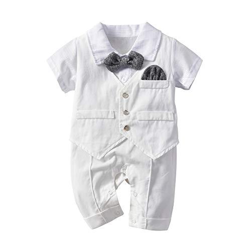 Haokaini Pasgeboren Jongens Gentleman Korte Romper Baby Tuxedo Formele Een Stuk Bruiloft Jumpsuit Outfit