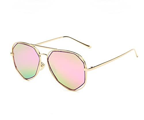 JINZUN Moda Gafas de Sol de Metal polígono Gafas de Sol Huecas Tendencia Anti-Ultravioleta Visera Marco Dorado Barbie en Polvo