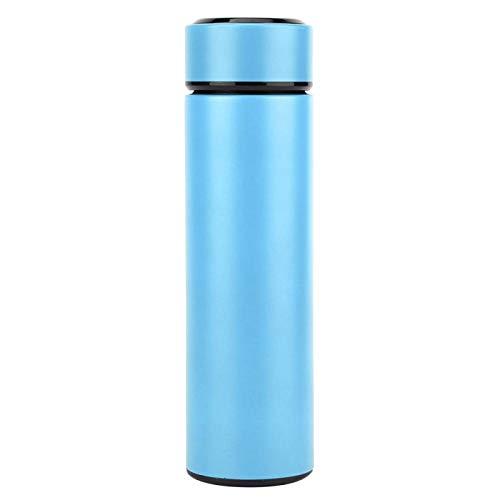 Omabeta mit Teefilter Wasserflasche mit Temperaturanzeige Wasserbecher für die Schule für Camping(Light Blue)
