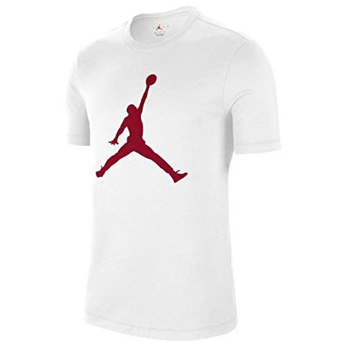NIKE M J Jumpman SS Crew T-Shirt, Hombre, White/Gym Red, S