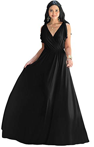 KOH KOH Plus Size Womens Long V-Neck Sleeveless Flowy Prom Evening Wedding Party Guest Bridesmaid Bridal Formal Cocktail Summer Floor-Length Gown Gowns Maxi Dress Dresses, Black 3XL 22-24