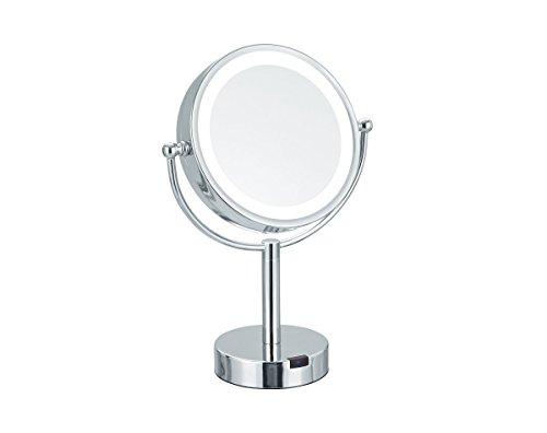 Nicol 4026200 THERESA Kosmetikspiegel LED mit Bewegungssensor, Standspiegel mit 5-fach Vergrößerung, Strom- oder Batteriebetrieb