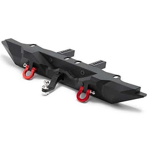 RCLions Metal Rear Bumper with 2 Shackles/Trailer Hitch for TRX4 1/10th RC Crawler Car