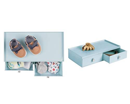 InterDesign Drawers boîte de rangement empilable pour fournitures de bureau, organisateur de bureau en plastique avec 2 tiroirs, bleu clair