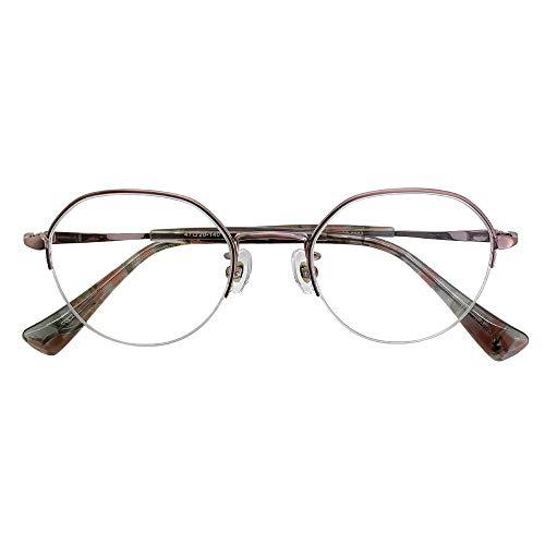 ブルーライトカット UVカット 遠近両用メガネ ソーホーズクラシック SO-9802 (ピンク) (レディースセット) 全額返金保証 境目のない 遠近両用 老眼鏡 (瞳孔間距離:69mm〜70mm, 近くを見る度数:+2.0)