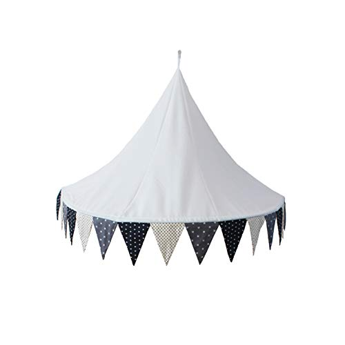 RROWER Baby Hanging Play Tent,Kids Cotton Bed Canopy Reading Nook Canopy,Round Dome Netting Curtains for Bedroom Decoration,Game House,2