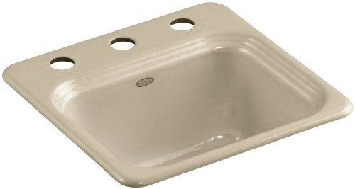 Kohler K-6579-3-33 Northland Self-Rimming Entertainment Sink with Three-Hole Faucet Drilling, Mexican Sand