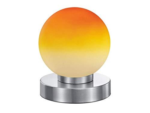 LED Tischleuchte mit orangem Kugel Glasschirm & Fuß in Nickel matt – 3 stufig dimmbar über Berührung – Neue Touch Generation geeignet für LED