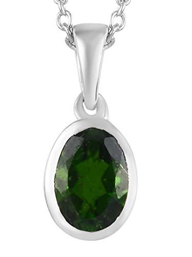D'Joy 925 Sterling Silber Oval geformter grüner russischer Diopsid-Anhänger für Frauen und Mädchen