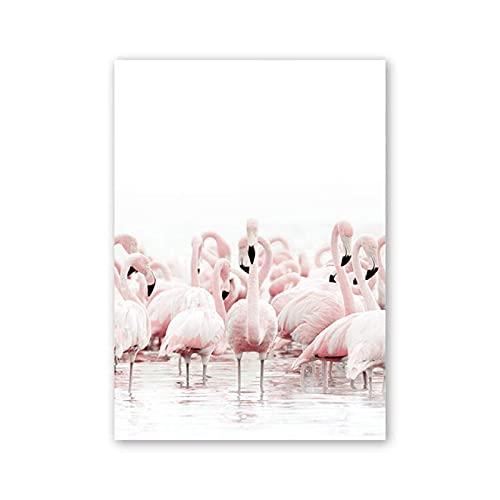 HHGGF Póster de Lienzo de pájaro de Fuego Rosa con decoración nórdica e imágenes artísticas de Pared Impresas para decoración de Sala de Estar de salón-40x60CM sin Marco
