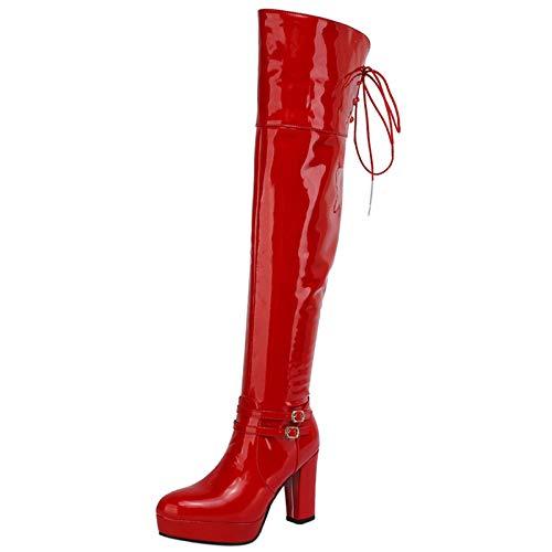 Garggi Damen Overknees Heel Mode Lack Boots Reißverschluss Block Chunky Höhe Ferse Runde Zehen Winterstiefel Plateau Party Rot Gr 46 EU/48Asiatisch