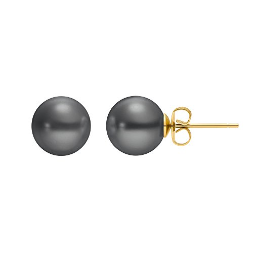 Heideman Ohrringe Damen Perlohrstecker aus Edelstahl gold farbend matt Ohrstecker für Frauen mit Swarovski Perle grau rund 10mm