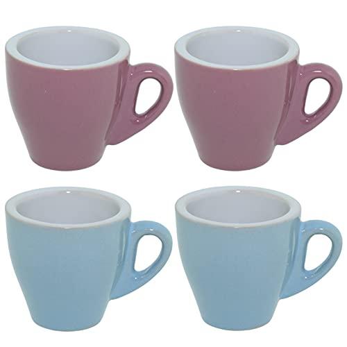 CREOFANT Espresso Tassen 4er Set · Tassen Set Pastellfarben · Kaffeebecher · Kaffeetassen Keramik · Pastell Becher (Altrosa – Blau)