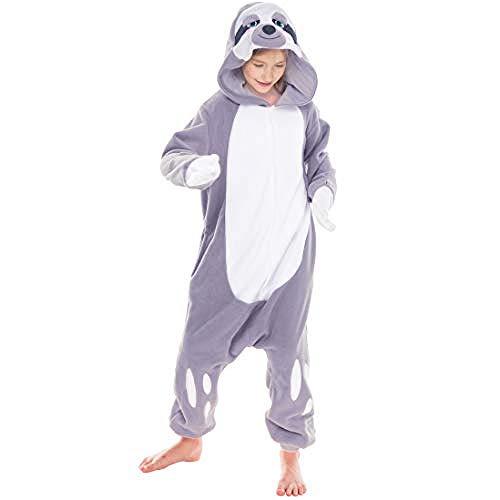 Spooktacular Creations Unisex Child Pajama Plush Onesie One Piece Sloth Animal Costume(10-12)