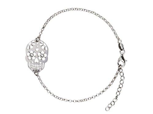 AKA Gioielli - Pulsera Mujer con Colgante Calavera y Cristales Swarovski Plata de Ley 925 Rodio