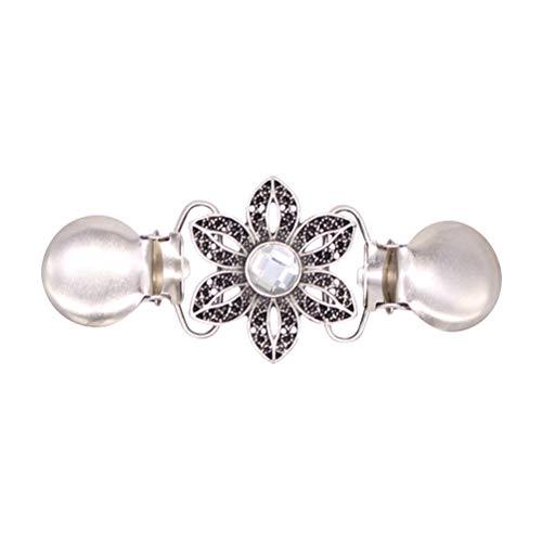Fenical Pullover Clips Kristall Strass Blume Form Cardigan Kragen Clip für Frauen Mädchen 2 Stück (Silber)