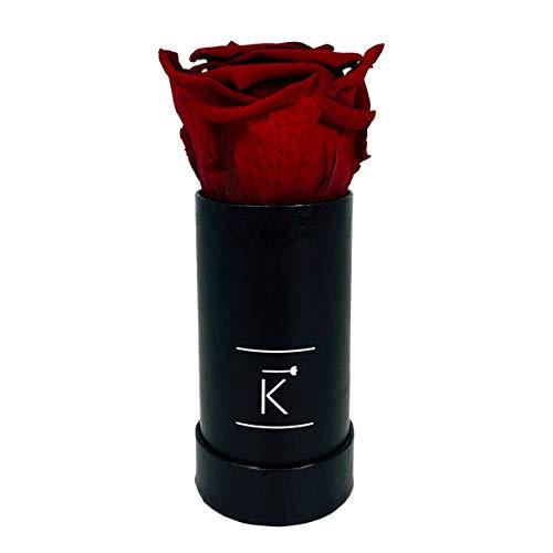 TRIPLE K Rosenbox Round Black, Infinity Rosen, bis 3 Jahre Haltbar, Flowerbox Geschenkbox Inklusive Grußkarte (XX-Small, Red)