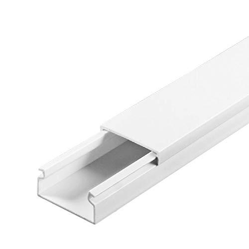 SCOS Smartcosat 10 m Kabelkanal (20 x 10 mm B x H 10x 1 m) Selbstklebend PVC Kunststoff, Aufputz für Wand Montage allzweck Kabelleiste, Kabelschacht