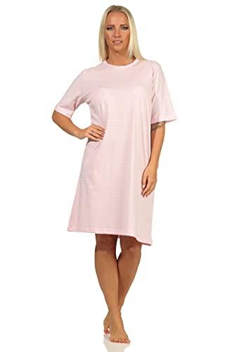 NORMANN-Wäschefabrik Elegantes Damen Kurzarm Nachthemd mit Spitzenbesatz in Ringeloptik - auch in Übergrössen, Farbe:rosa, Größe:52-54