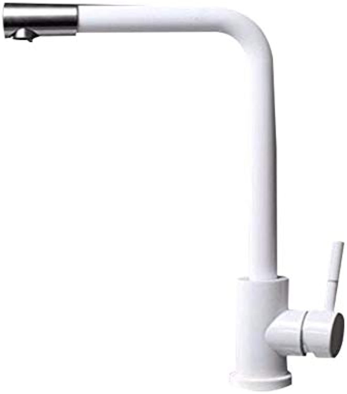 XHSSF-Kitchen mixer White paint kitchen taps cold and hot single-hole sink redatable water outlet washbasin