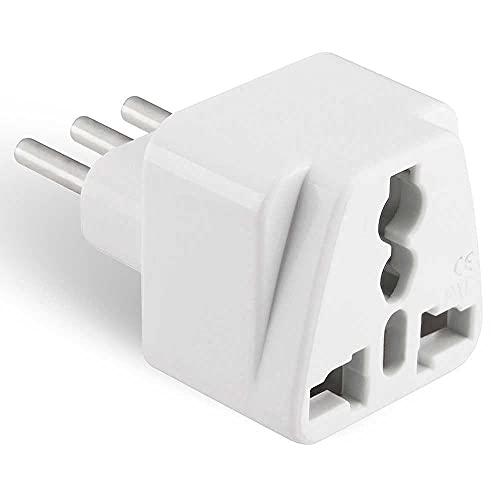 OcioDual Enchufe Conector Adaptador Universal de Americano USA Inglés UK Europeo EU a Italia Italiano ITA 3 Pin Tipo L