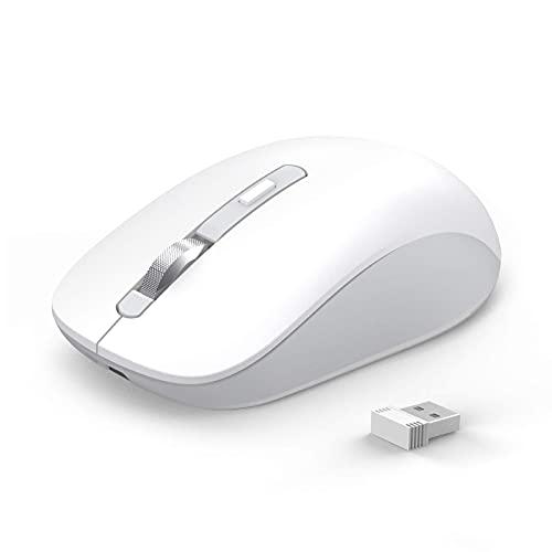 Mouse Bluetooth, JOYACCESS Mouse Wireless Dual Mode (BT 5.0 / 3.0 + 2.4G), Mouse portatile 1600 DPI compatibile con PC, iPad, MacBook Computer, Windows, MacOS, Android, Bianca …