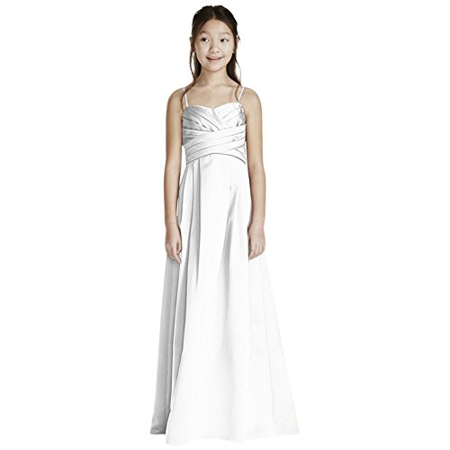David's Bridal Satin Sweetheart Ball Gown with Pleated Bodice Style WJB0692, White, 14