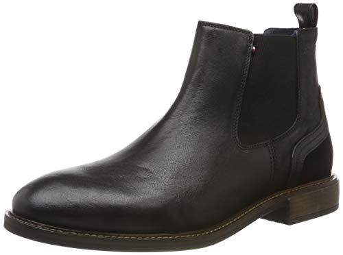 Tommy Hilfiger Herren Elevated Leather Mix Chelsea Klassische Stiefel, Schwarz (Black 990), 43 EU