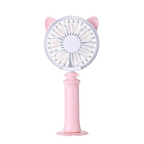 Fliyeong Nette Katze-Ohr-Form Handheld-USB-Mini-Ladetyp Lüfter einstellbar Windgeschwindigkeit und -richtung (Pink)