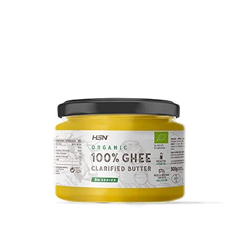Ghee biologique de HSN  100% Beurre Clarifié BIO de Vache   Certifié biologique par l'Union Européenne   Provenant de vaches nourries à l'herbe   Non OGM   Sans Sel ni Lactose   200 gr