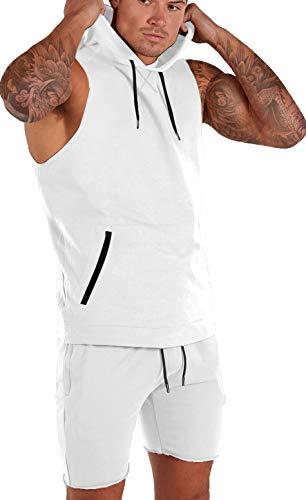 Men's Workout Gym Tank Top Cut Off Fashion Bodybuilding Muscle T Shirts Zip Pocket Sleeveless Hoodie White L