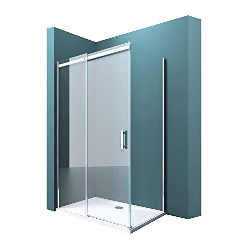 Duschabtrennung Ravenna18 in Klarglas ESG mit NANO 90x120cm Dusche mit Schiebetür Eckeinstieg: Links
