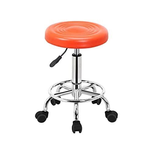 HSAN Drehbarer Aufzug Bürostuhl Labor Schreibtischstuhl einfach bequemer Barstuhl Mode verschleißfest PU. Leder-Schwenkstuhl (Color : Orange)