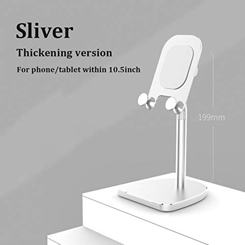 Universal Tablet Stand Desktop Phone Aluminum Stand Adjustable Bracket For Iphone Xr Xs Ipad 2 3 4 Mini Air Xiaomi Asus,Thickening Sliver