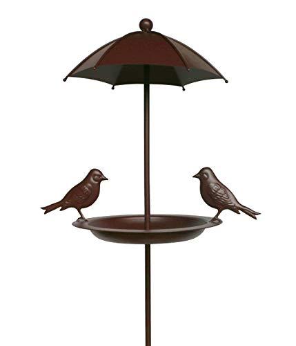 Dehner Natura Wildvogel-Futterspender Plata mit Erdspieß, Ø 26 cm, Höhe 138 cm, Metall, braun