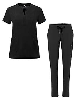 Adar Addition Go-Higher Scrub Set for Women - Notched V-Neck Scrub Top & Skinny Cargo Scrub Pants - A9600 - Black - S