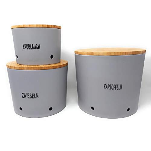 CreaFlor Home 3er Set Zwiebel-, Knoblauch- & Kartoffeltopf Vorratsdosen Silber grau Magu