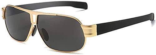 Gafas de sol polarizadas de moda casual con estructura dorada/marrón para hombre (color: marrón)