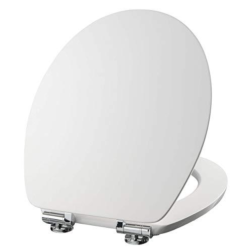 VILSTEIN WC Sitz mit Absenkautomatik, Stabile Metall-Scharniere, hochwertige und stabile Qualität aus MDF Holz, WC Deckel, Hochglanz weiß