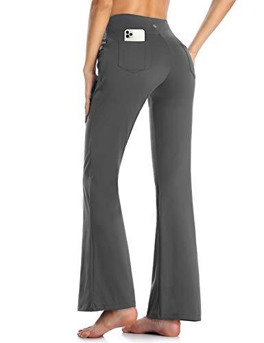 MOVE BEYOND Pantalones de Yoga para Mujer de con 4 Bolsillos Pantalón de Pilates de Cintura Alta Yoga Gimnasio Running Training, Gris, L