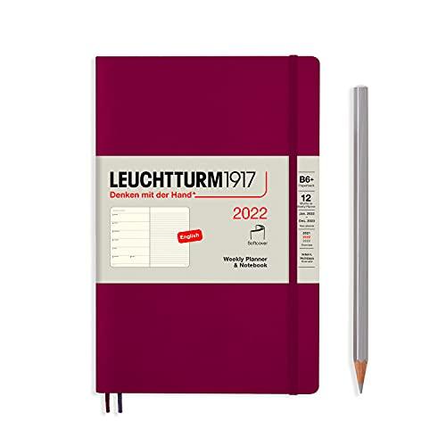 Leuchtturm1917 (363788) - Agenda semanal y cuaderno (tamaño mediano, A5, 2022), color rojo