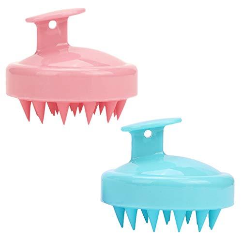 (2 Stück) Kopfhaut-Massagegerät, Shampoo-Bürste für nasses und trockenes Haar, Kopfhaut-Massage-Bürste mit weichem Silikonkopf, Massagegerät für Damen, Herren, Haustiere (Grün und Rose Pink)…