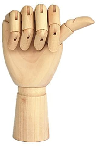 """Wood Artist Drawing Manikin Articulated Mannequin with Wooden Flexible Fingers 10"""" Right Hand (10 inches-Right Hand)"""