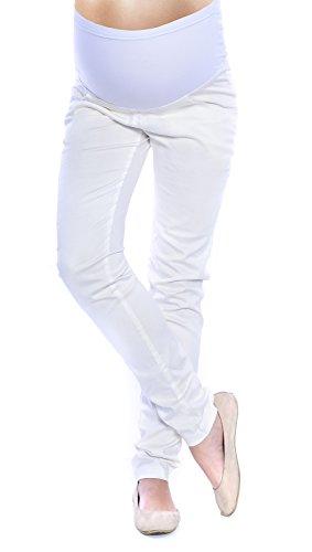 Mija - Elegante Damen Slim Umstandshose mit Bauchband 4007 (M, Ekru)