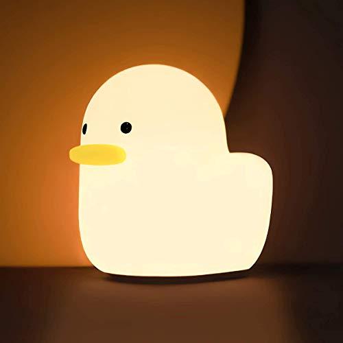 Silikon LED Nachtlicht, Entzückendes USB Wiederaufladbare Ente Nachtlicht Touch Lampe Schlummerlicht Stimmungslicht für Schlafzimmer, Wohnräume, Camping